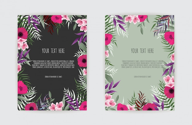 Summer floralwedding invitation card with blooming garden flowers, botanical illustration in watercolor style.