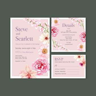 結婚式カードテンプレート水彩ベクトルイラストの夏の花のコンセプトデザイン