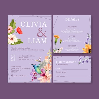 Летний цветок концепция дизайна для свадебной открытки шаблон акварель