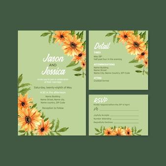 結婚式カードテンプレート水彩画の夏の花のコンセプトデザイン