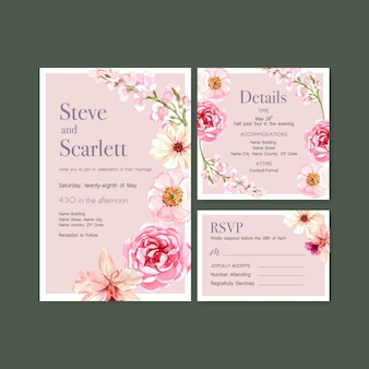 Summer flower concept design for wedding card template watercolor vector illustration