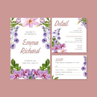 Summer flower concept design for wedding card template watercolor