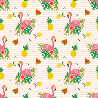 Summer flower and flamingo seamless pattern.
