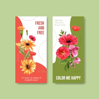 Summer flower flyer template design watercolor