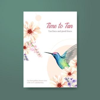 夏の花ポスターテンプレートデザイン水彩画