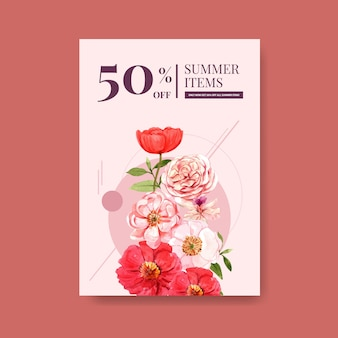 Summer flower poster template design watercolor