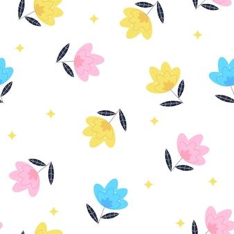 여름 꽃 원활한 패턴 배경 그림