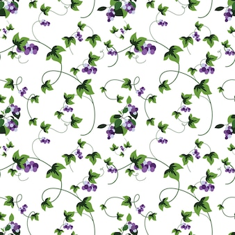 Летние цветы и листья узор бесшовные абстрактные виноградная лоза с синими листьями винограда