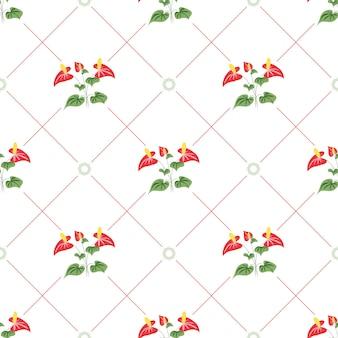 여름 꽃과 잎 패턴 원활한 레드 칼라 백합 선형 기하학적 타일 반복