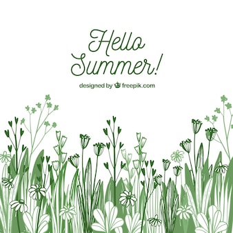 Summer flowers background in hand drawn style