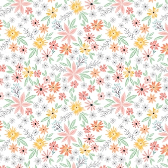 Summer flowers blossom seamless pattern