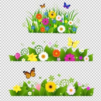 메쉬 그라디언트 일러스트와 함께 여름 꽃 꽃다발