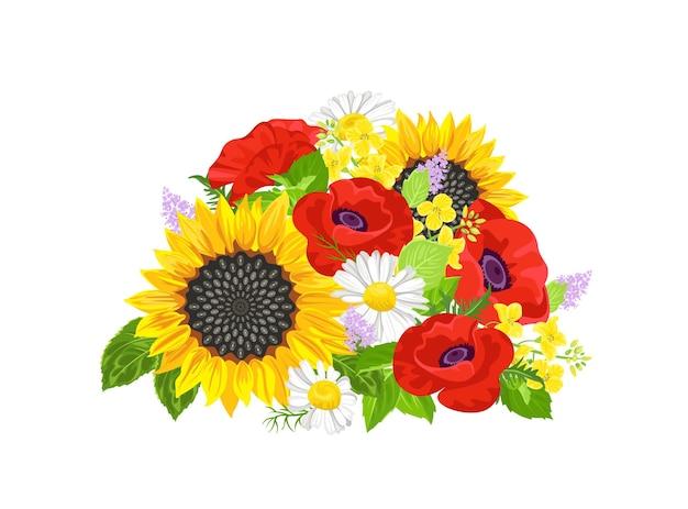 ひまわり、デイジー、赤いポピーと夏の花の花束。