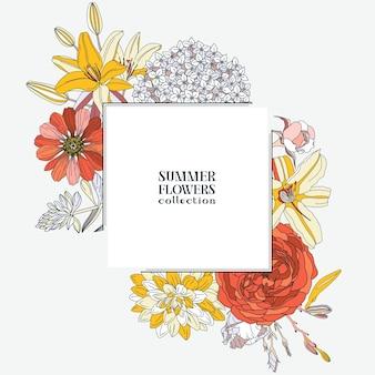 夏の花-ダリア、アジサイ、ユリ、バラ、ジニア。花のフレーム