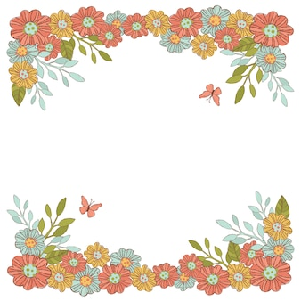 Summer flowers decorative frame