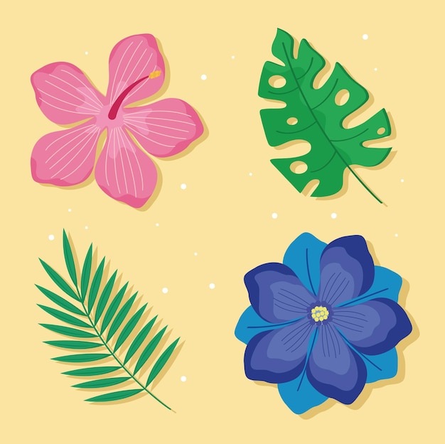 Summer flowers and leaves set