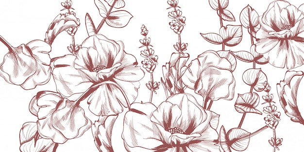 Summer flowers line art.