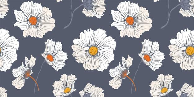 여름 꽃 초원입니다. 어두운 회색 배경에 흰색 야생 양귀비와 데이지가 있는 원활한 패턴
