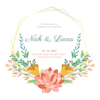 Summer flowers on save the date wedding frame
