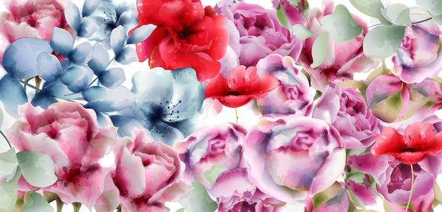 Summer flowers watercolor