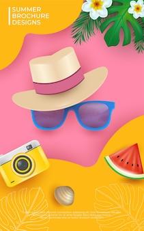 Summer flyer design illustrations