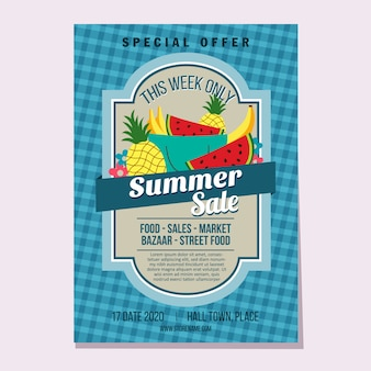 Summer flyer template flat style market theme