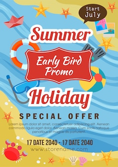 Summer flyer template holiday early bird promo flat style beach theme vector illustration