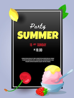 Summer flyer template holiday ice cream and berry