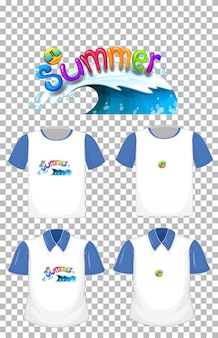 Summer font logo with many types of shirts on transparent background