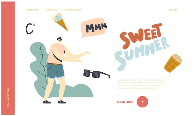 Summer food, delicious sweet dessert cold treat landing page template. man character dream of ice cream in waffle cone