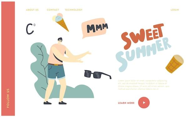 여름 음식, 맛있는 달콤한 디저트 차가운 치료 방문 페이지 템플릿. 와플 콘에 아이스크림의 남자 캐릭터 꿈