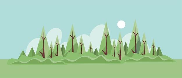 空き地と茂みのある夏の森の風景