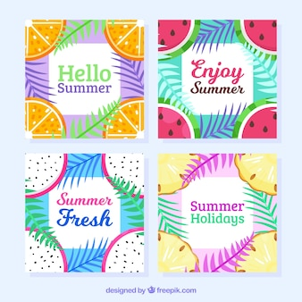 Summer frame collection with fruits