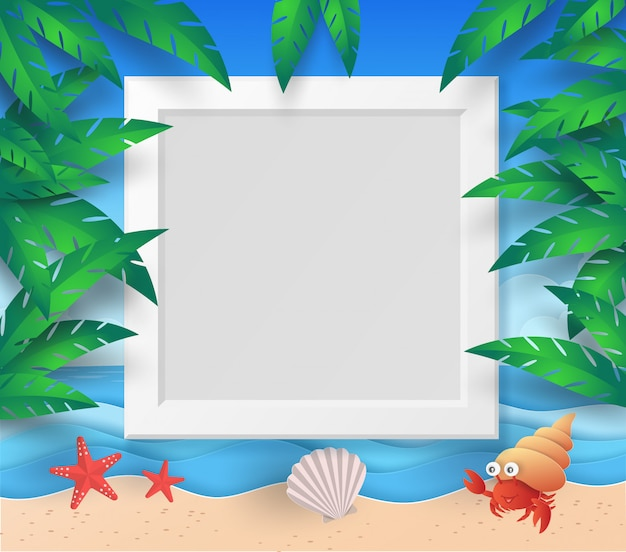 Summer frame template with beach, sea, tree, leaf, starfish, shell and hermit crab with paper cut