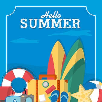 Summer frame template with cute cartoons