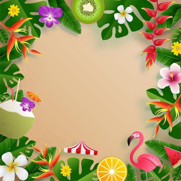 カラフルな熱帯の花と夏のフレーム