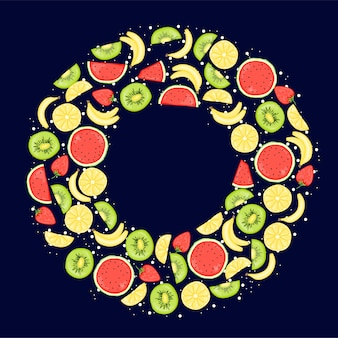 Summer frame with fruits