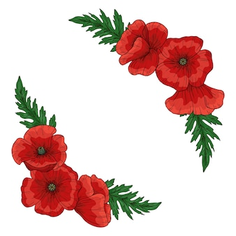 赤いポピーの花と夏のフレーム。 papaver。緑の茎と葉。デザインの要素のセット。