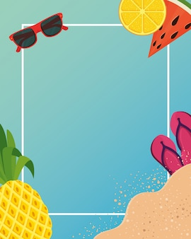 Summer frame with tropical icons