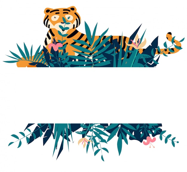 Summer frame with tropical jungle leaves, flowers and tiger