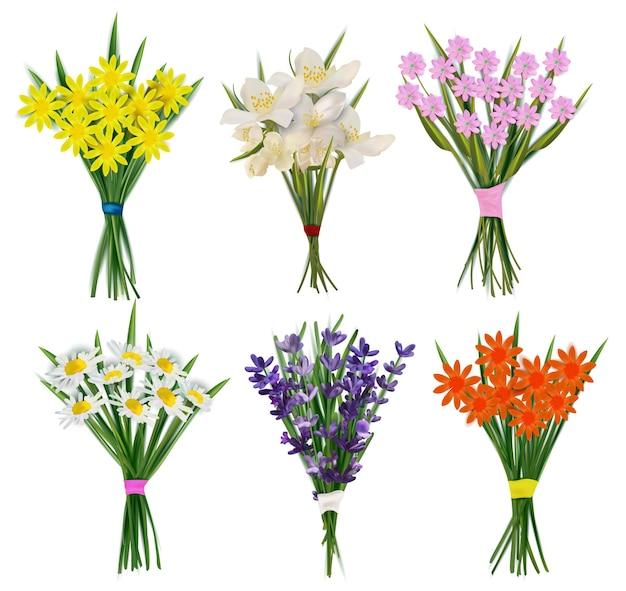 Летние букеты свежих цветов.