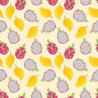 Summer fresh fruit seamless pattern