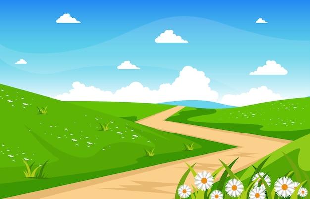 Summer fresh green nature field land sky landscape illustration