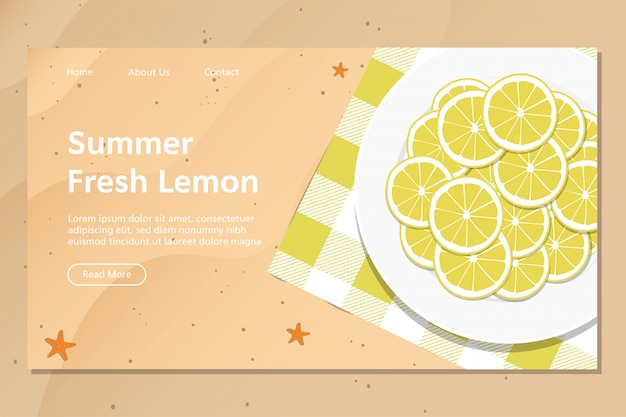 Summer fresh lemon landing page vector