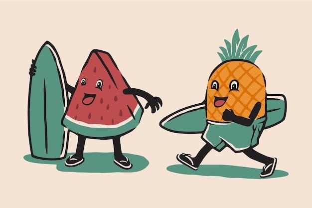 Иллюстрированный персонаж летних фруктов