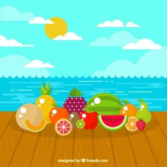 ビーチで夏のフルーツ