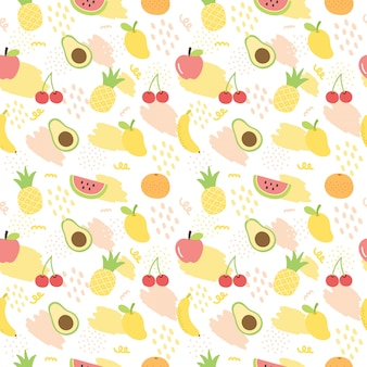 Summer fruit pattern background.
