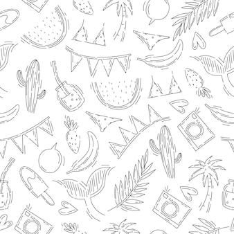 Summer fruit pattern with holiday items in doodle style