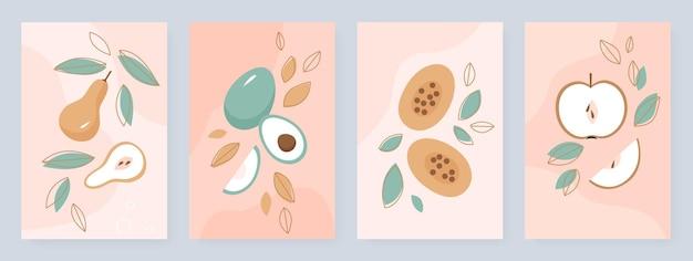 Шаблон оформления историй в социальных сетях летний набор фруктов милые половинки и целые фрукты