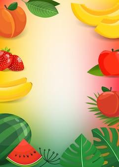 夏の果物と葉